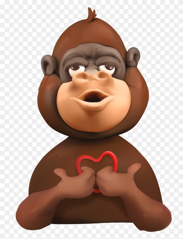 Monkey lovely face cartoon characters Premium vector PNG