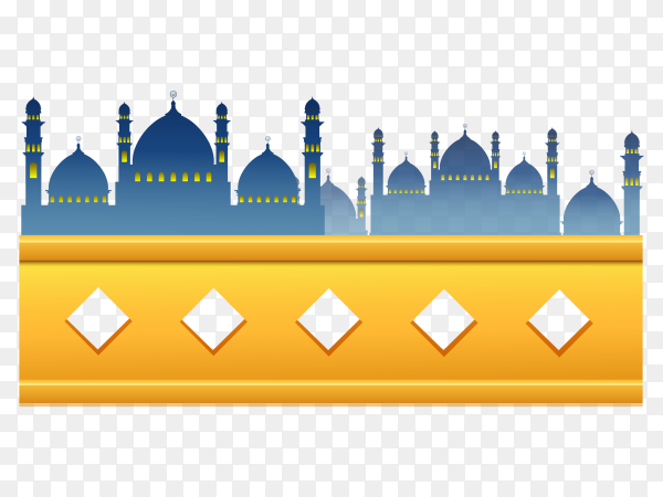 Mosque design on transparent background PNG