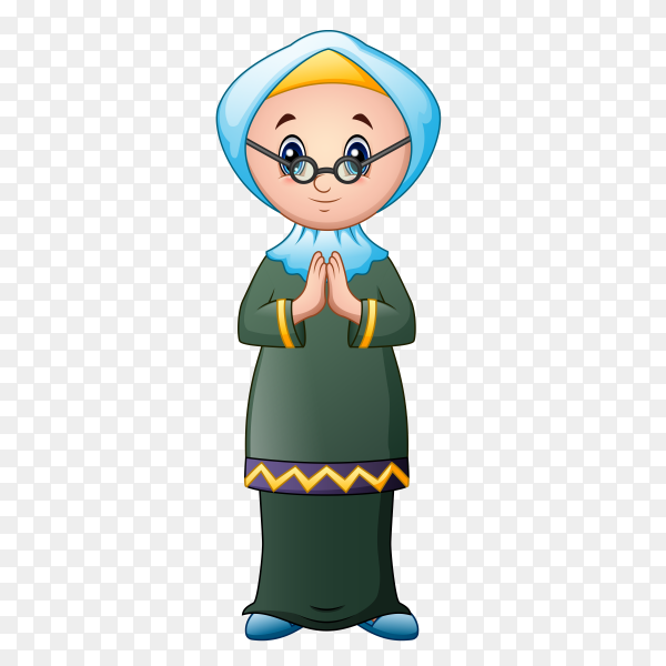 Muslim grandmother Cartoon on transparent background PNG