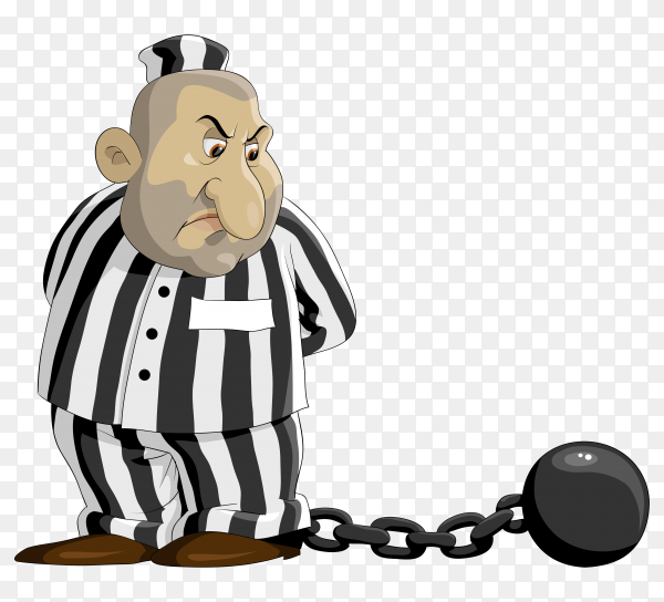Prisoner Cartoon design on transparent background PNG