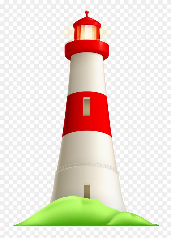 Realistic lighthouse illustration on transparent background PNG