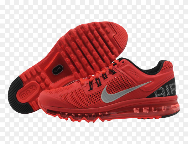 Red Nike shoes premium on transparent PNG