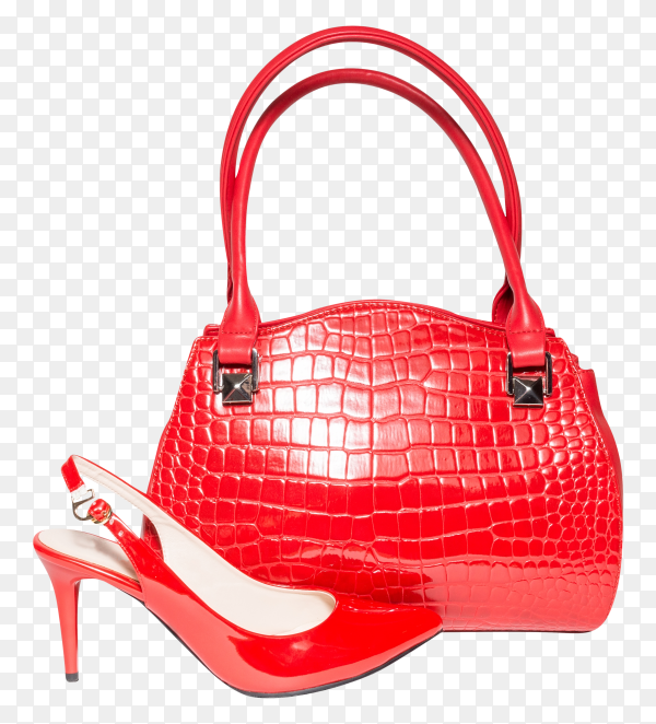 Red handbag and shoes for woman on transparent background PNG