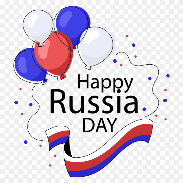 Russia day balloons Premium vector PNG