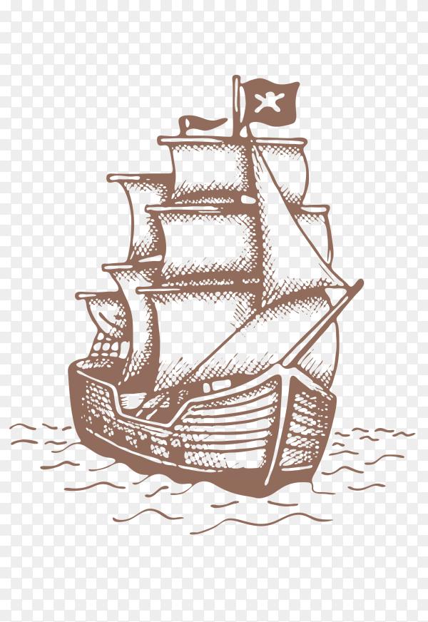Sailing Ship Stock Illustration on transparent background PNG