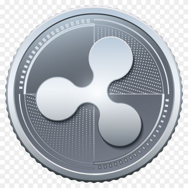 Silver ripple coins on transparent background PNG
