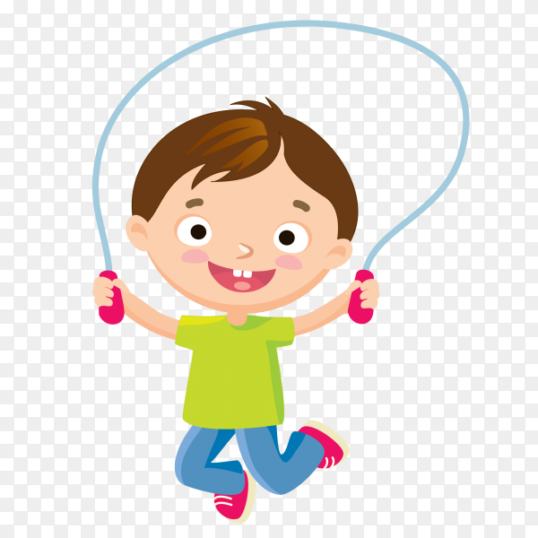 Smiley boy Playing by rope on transparent background PNG