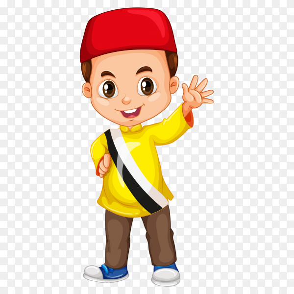 Smiling boy raising his finger Premium  vector PNG