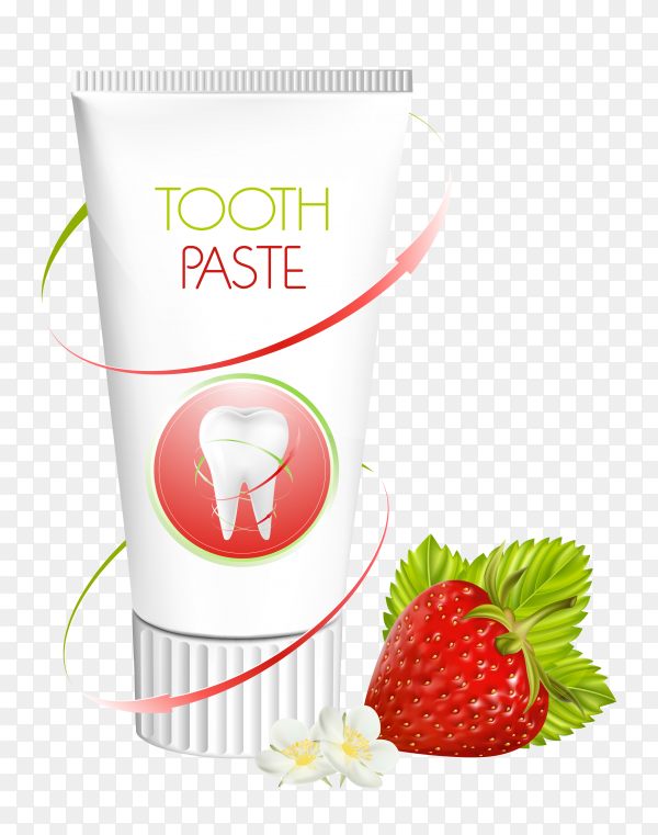 Tube of toothpaste with strawberry on transparent background PNG