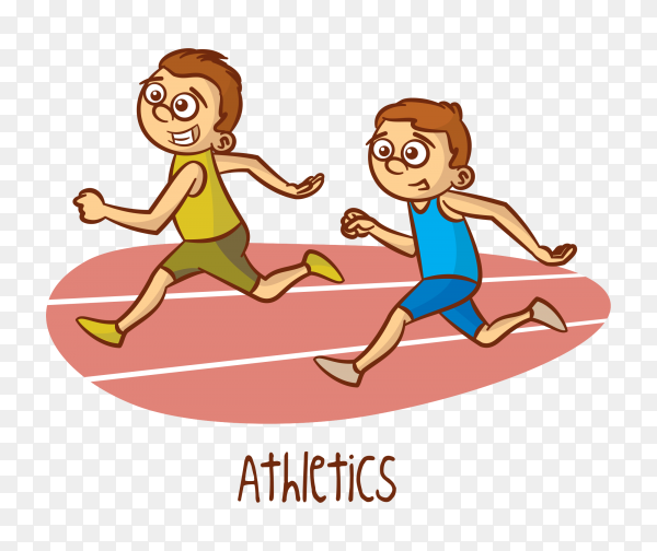 Two boys running Premium vector PNG