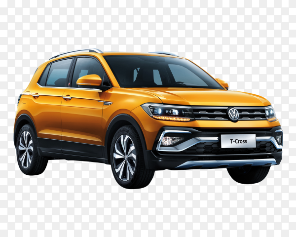 Volkswagen T-Cross Yellow car on transparent background PNG