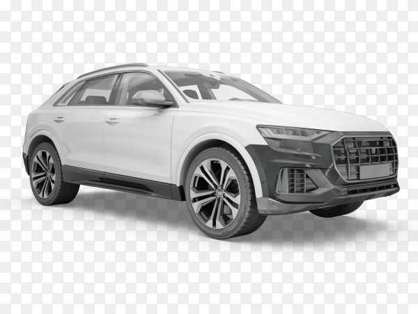 White car on transparent background PNG