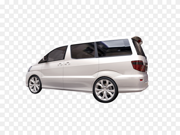 White small minivan for transportation people  on transparent background PNG