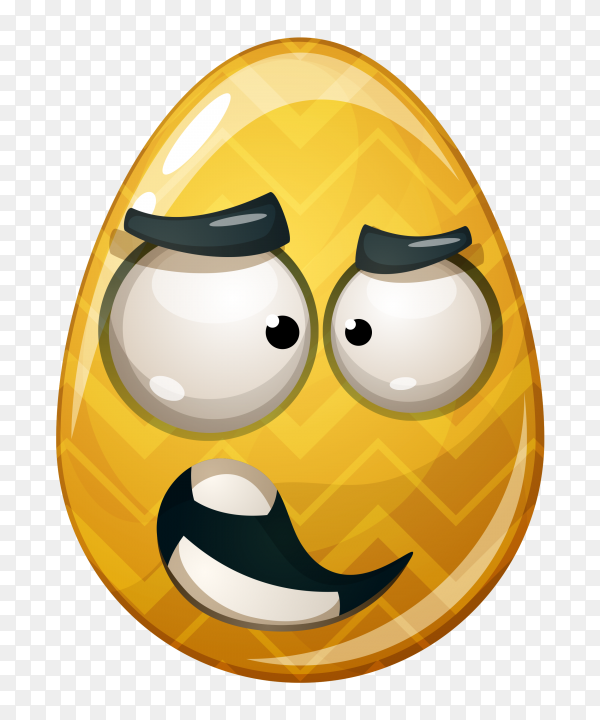 Yellow egg with face rolling eyes on transparent background PNG