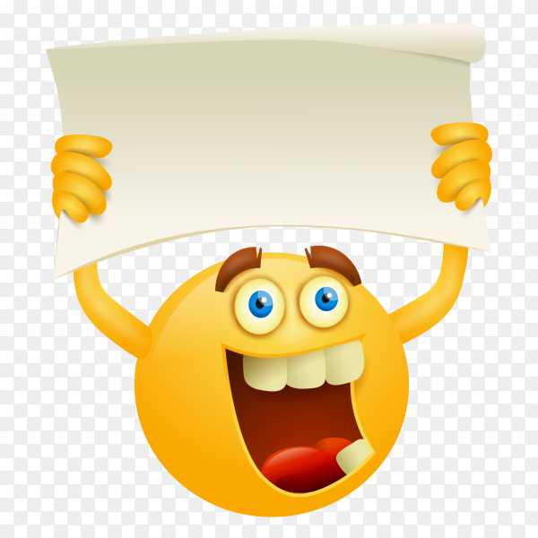 Yellow smiley emoji face with white frame on transparent backgound PNG