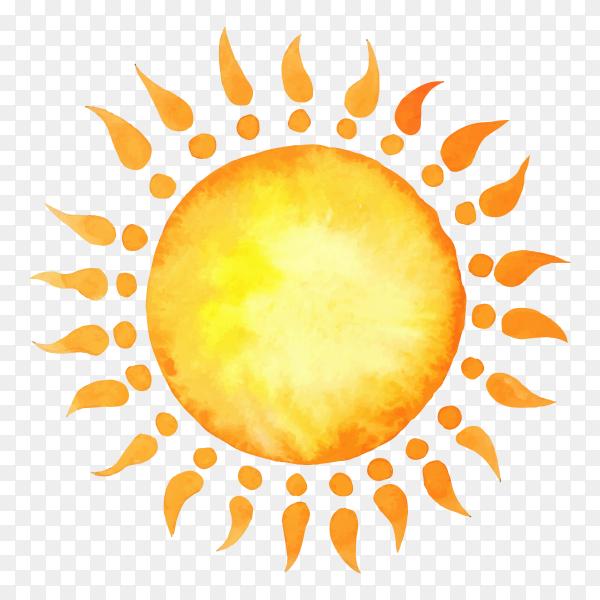 Yellow sun on transparent PNG