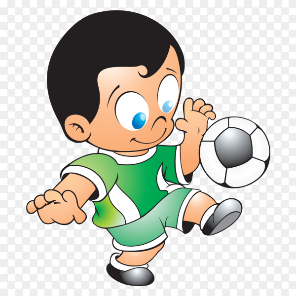 Young Soccer player kicking ball on transparent background PNG