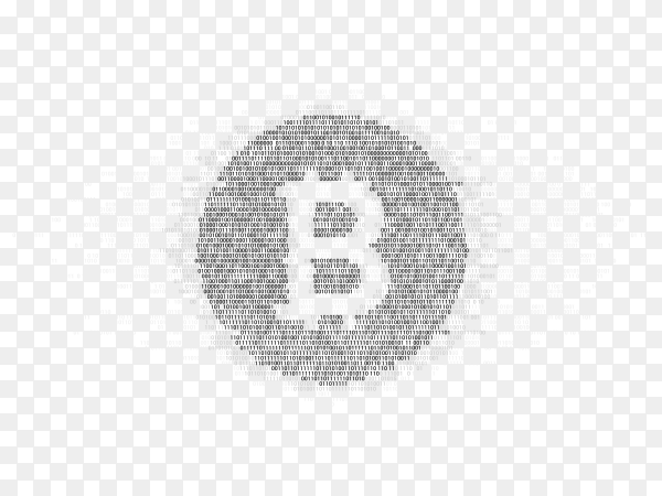 Bitcoin symbol with one zero binary code digit matrix Clipart PNG