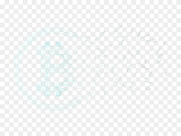 Polygonal wireframe mesh futuristic with bitcoin on transarent background PNG