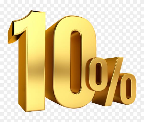 3D Gold metal discount 10 percent on transparent background PNG