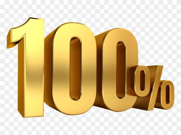 3D Gold metal discount 100 percent on transparent background PNG