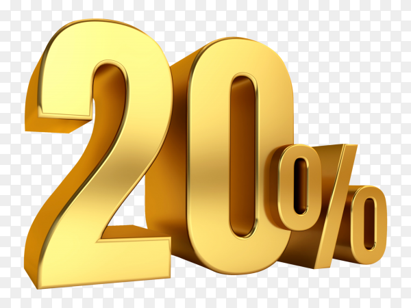 3D Gold metal discount 20 percent on transparent background PNG