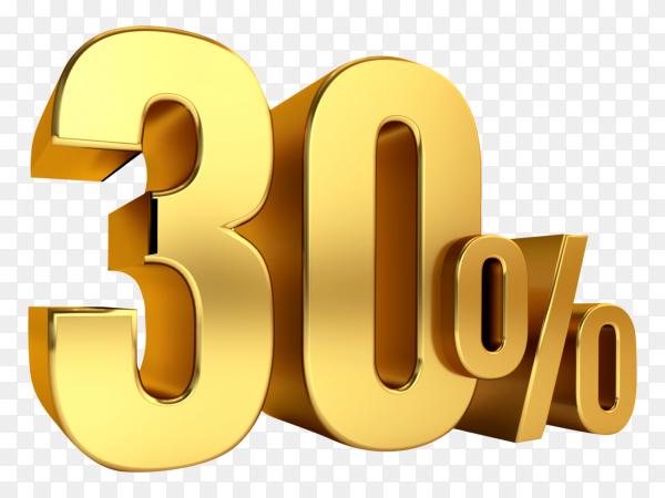 3D Gold metal discount 30 percent on transparent background PNG
