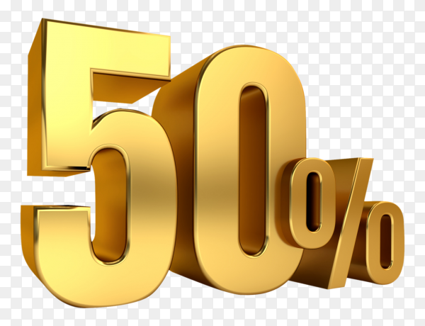 3D Gold metal discount 50 percent on transparent background PNG