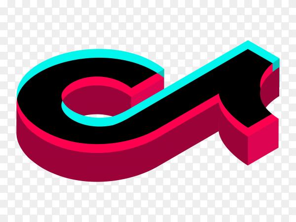 3D Logo of the tik tok app on transparent background PNG