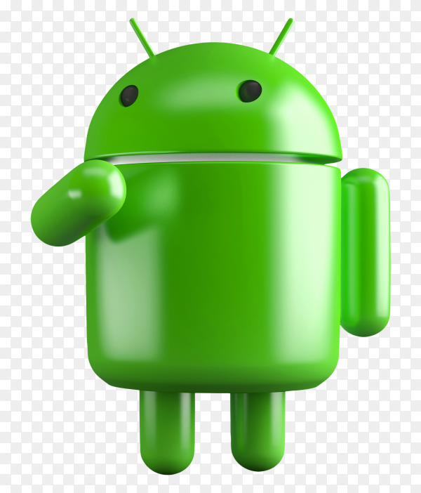 3D android robot illustration on transparent background PNG