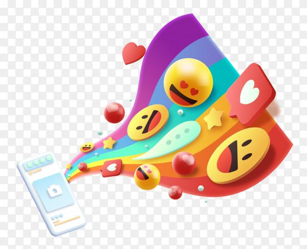 3D colorful emojis concept on transparent background PNG