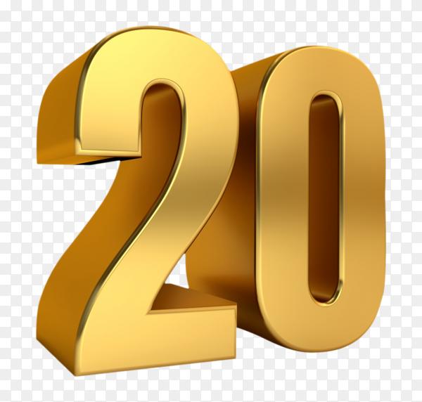 3D golden twenty number on transparent background PNG