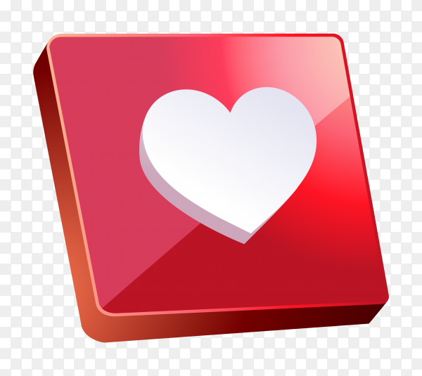 3D like icon on instagram on transparent background PNG