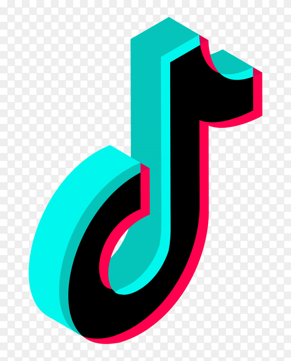 3D logo tiktok style on transparent background PNG