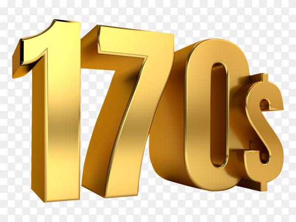 3D one hundred seventy price symbol on transparent background PNG