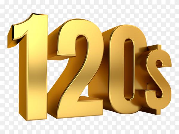 3D one hundred twenty price symbol on transparent background PNG