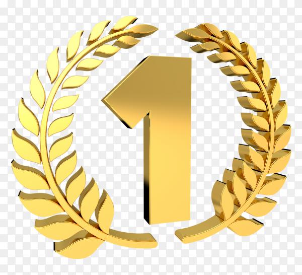 3D one number golden on transparent background PNG