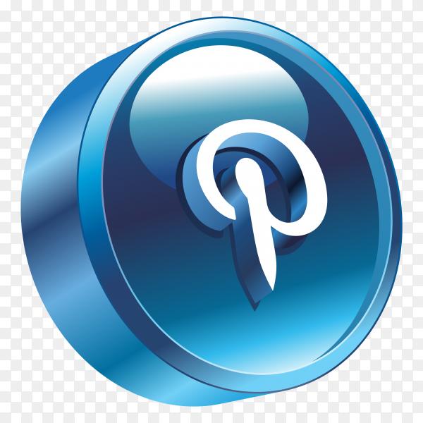 3D pinterest Logo on transparent background PNG