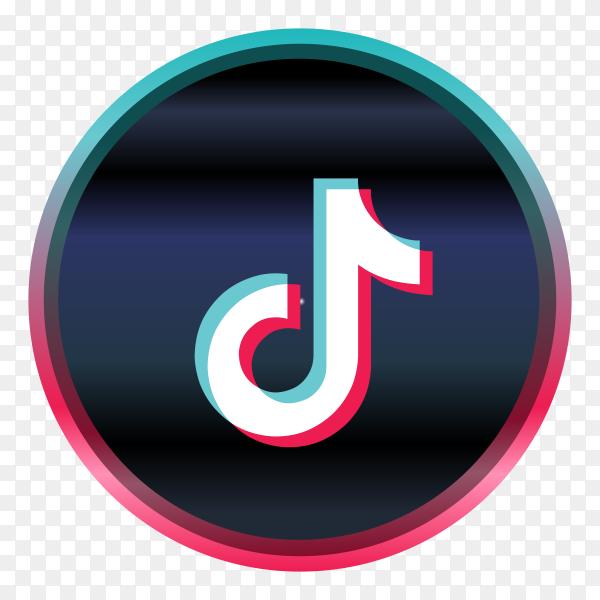 3D style tiktok social media logo on transparent background PNG