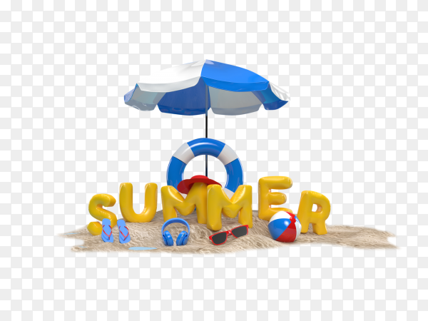 3D text summer on beach island with sunglasses, flip-flops, ball, and ring floating on transparent background PNG