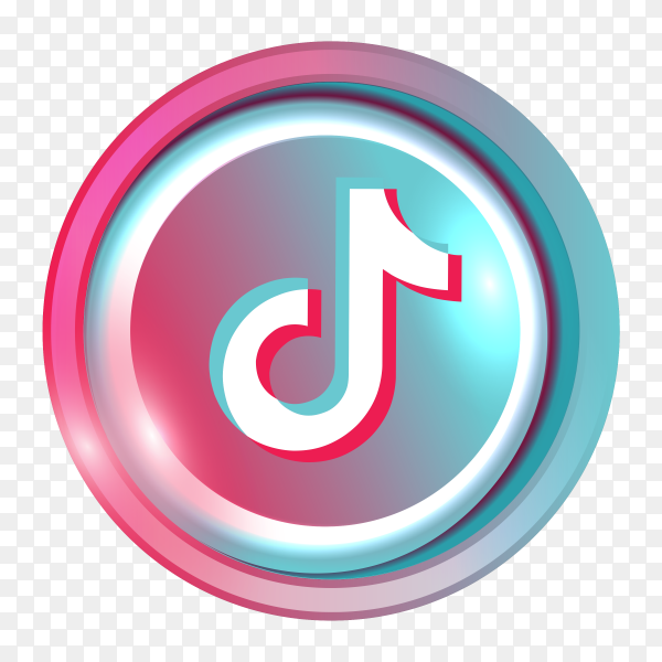 3D tiktok logo on transparent background PNG