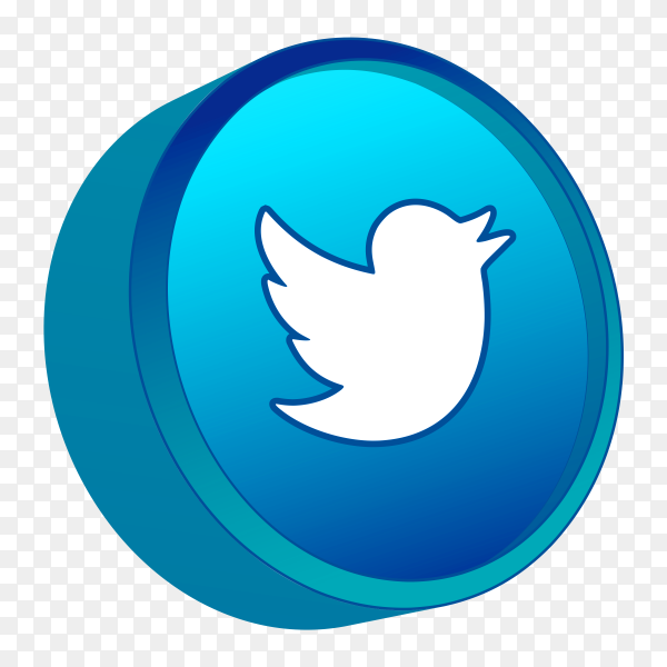 3D twitter icon on transparent background PNG