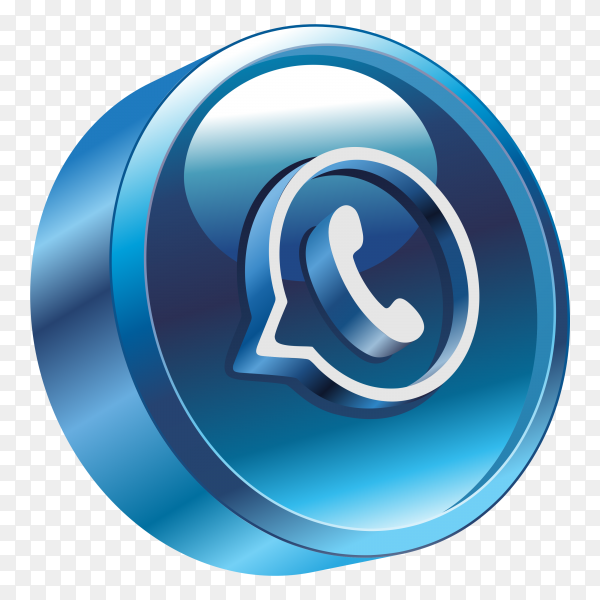 3D whatsapp Logo on transparent background PNG
