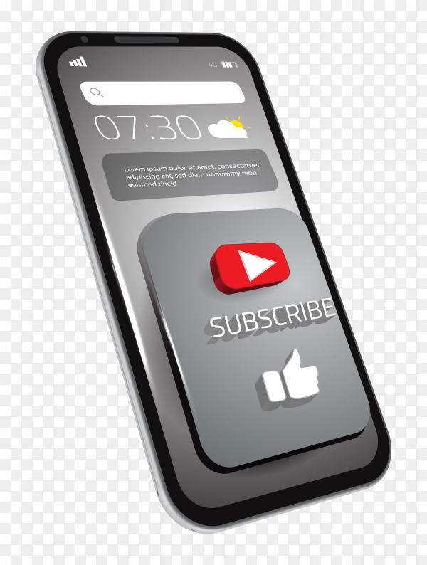 3D youtube subscribe like button on smart mobile phone on transparent background PNG