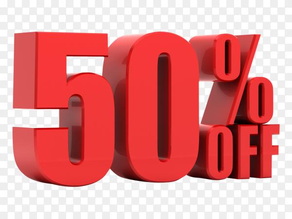 50 percent off promotion on transparent background PNG