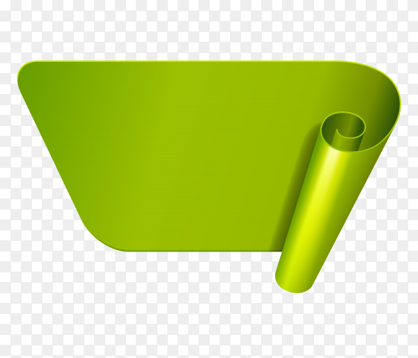 Abstract green Ribbon banner on transparent background PNG