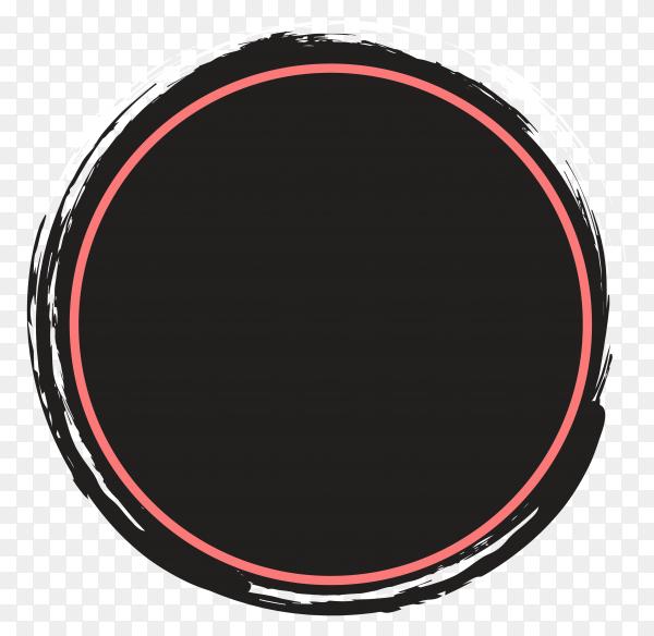 Abstract grunge splatter in circle frame on transparent background PNG