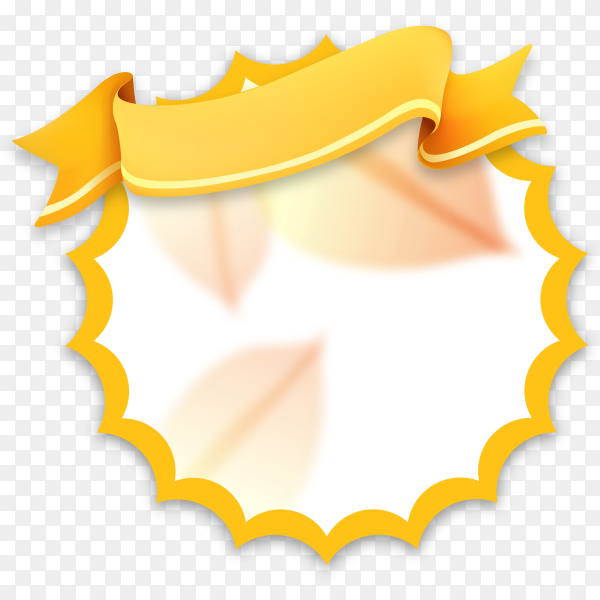 Abstract yellow banner with Ribbon on transparent background PNG