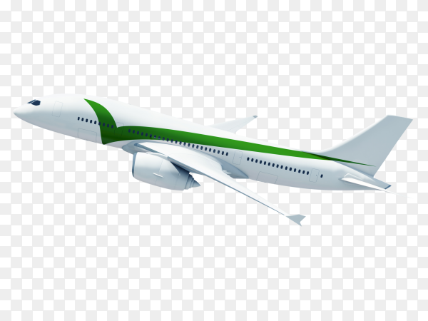 Airplane flying in a  sky on transparent background PNG