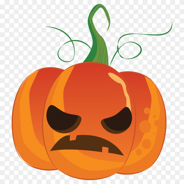 Anrgy halloween pumokin face on transparent background PNG